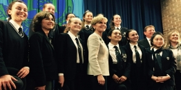 Meriden Year 12 students with The Hon Julie Bishop MP, Mr Craig Laundy MP, Meriden's Deputy Principal Mrs Christine Roberts and PDHPE teacher Mrs Kylie McKelvey following the Women in Leadership talk