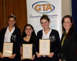 Mrs Clare Kinnane with Geography students (L-R) Anna Geason, Madeleine Roustas and Krystina Mullally at the GTA Awards presentation