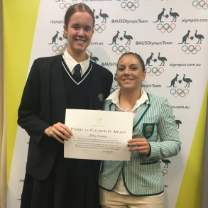 Abbey Freeman with Olympian Shelley Watts