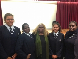 The Hon Bess Price MLA, Minister for Women's Policy and Community Services for the Northern Territory (centre) meets Meriden students (L-R) Leah Carter-Rankine, Elisha Garawirrtja, Quaneisha Williams and Anthea Joe during the Remote Indigenous Education Forum held at Meriden