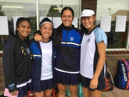 (L-R) Vanessa D'Souza and Komaki Ido, 2018 Tildesley Doubles Champions, with the runners-up, Angelina Teakaraanga-Katoa and Olivia Huang