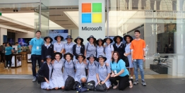 Year 8 News and Contemporary Studies students at the Microsoft showroom