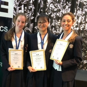 Alicia Molesworth, Tiffany Linggoputro and Paris Koic at the award presentation for PYOE. (Team member Isabella Fang not pictured)