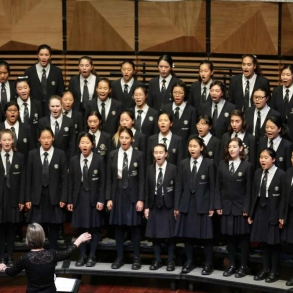 The Senior Singers during their winning performance at the John Lamble Foundation Australasian Championship for Youth Choirs