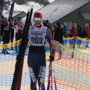 Isabella Moon competing in the Interschools Snowsports Cross Country Championships