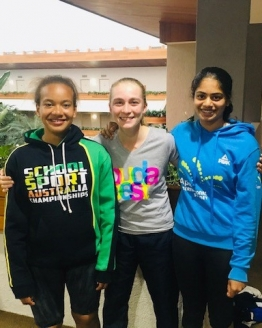 Sarah Rokusek, Sienna Leeson and Subi Surenraj in Canberra for the National Claycourt Championships
