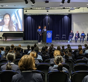 Turia Pitt speaking with Year 8 students via video link