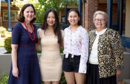 Meriden students who received ATARs of 99.95, Xinyu Rain Wei and Jessica Wenjie Qiao, with Head of Teaching and Learning, Mrs Christine Kenny and Meriden Principal, Dr Julie Greenhalgh